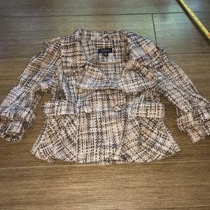 BEBE Small tweed crop jacket tan brown